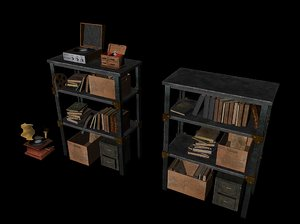 old worn bookshelf books 3d model