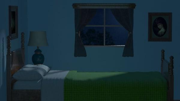 night bedroom scene 3d max