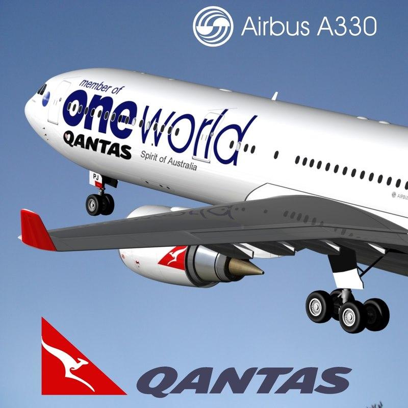 airbus a330-300 qantas 3d model
