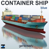 3d model container ship blue