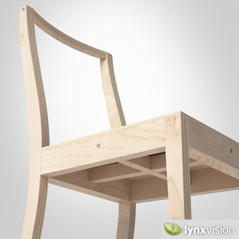 3d model of ply chair jasper morrison. Black Bedroom Furniture Sets. Home Design Ideas