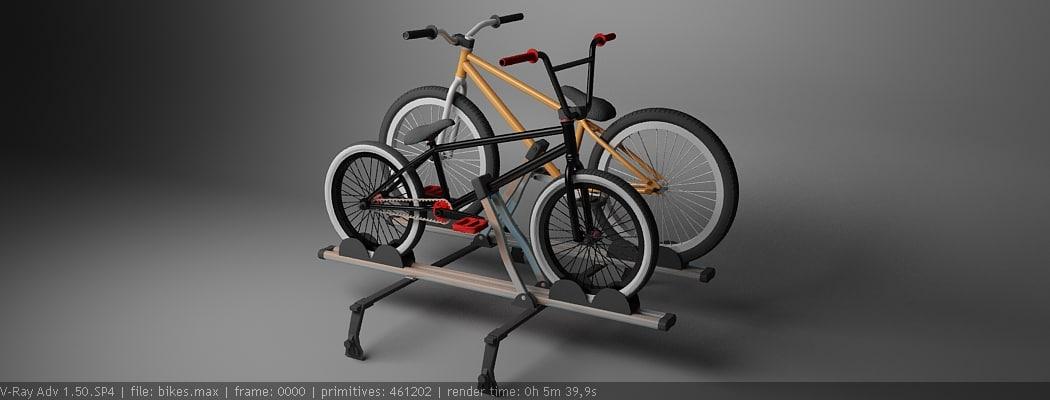 3d model roof rack bikes