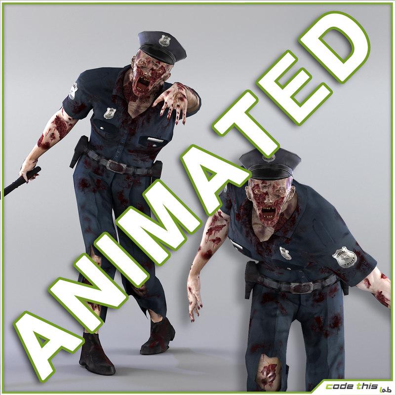 police zombie 3d fbx