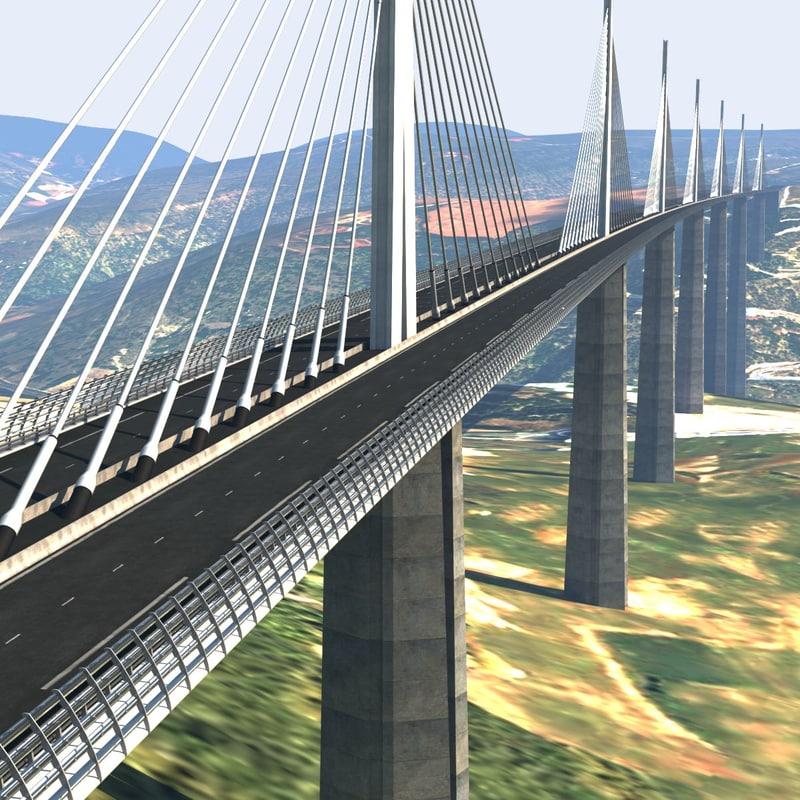 3d model of millau viaduct bridge