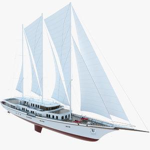 3d model of sailboat yacht sail