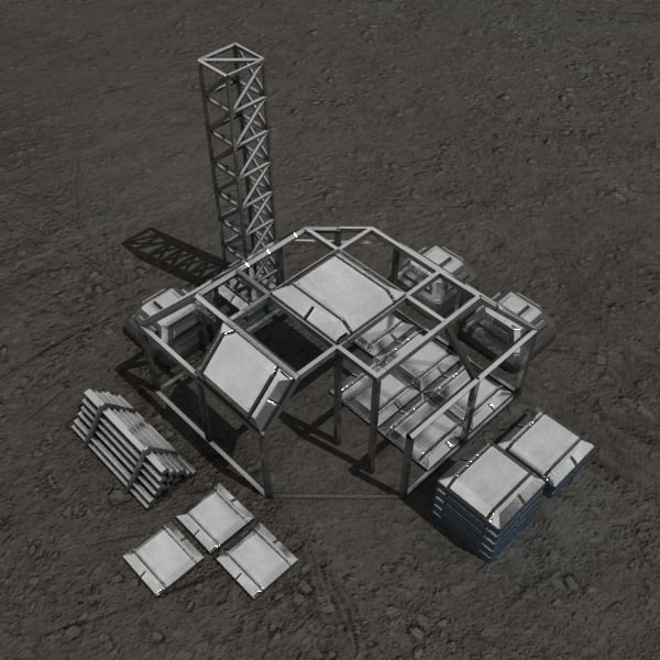 3d construction sci-fi building model