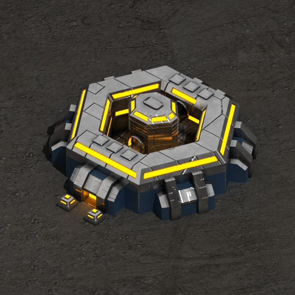3d model command center sci-fi building