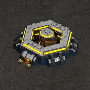 3d model command center sci-fi building