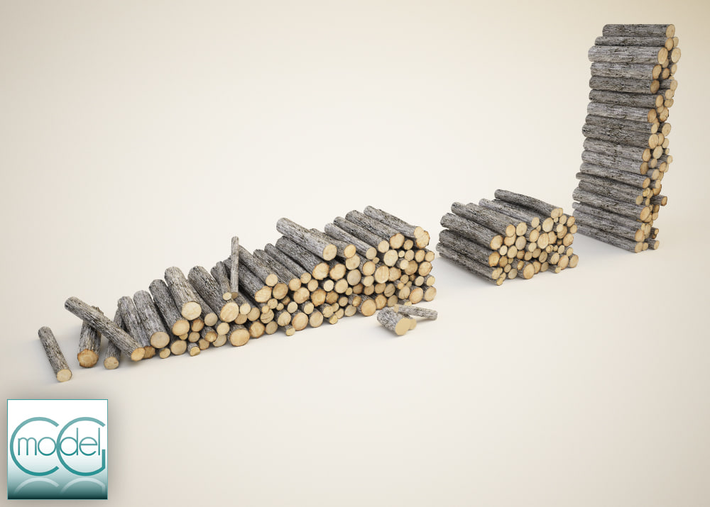 wood pile 3d 3ds