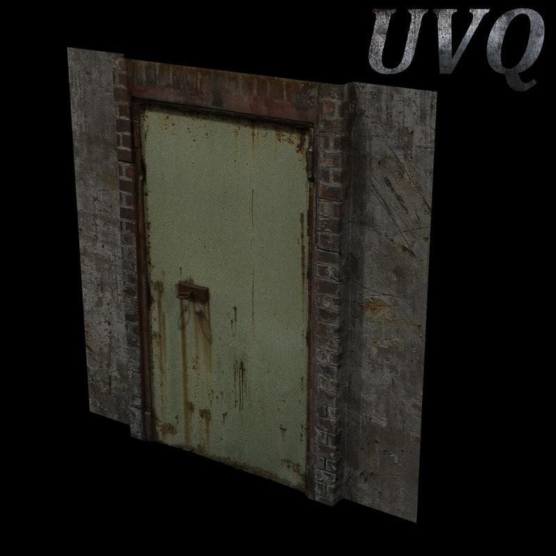 3ds max metal door wall