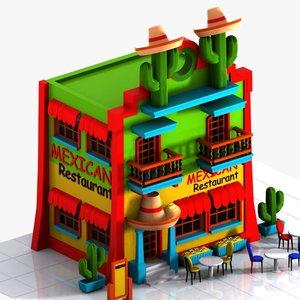 3ds max cartoon mexican restaurant