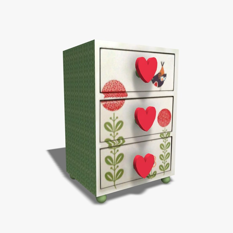 jewellery drawers 3d obj