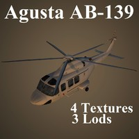 3d agusta ab-139 low-poly