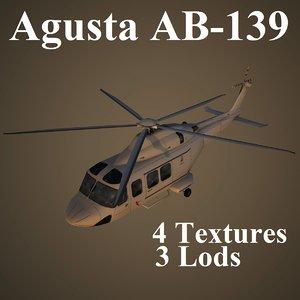 3d agusta ab-139 low-poly