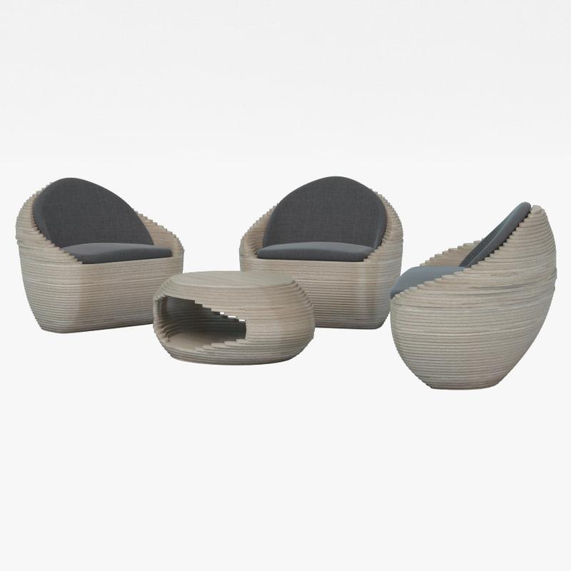3d designer furniture set