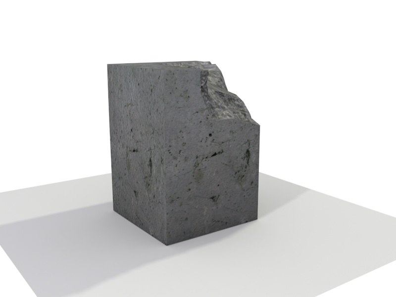 square concrete blocks broken 3d model
