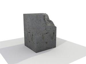 square concrete blocks broken 3d model