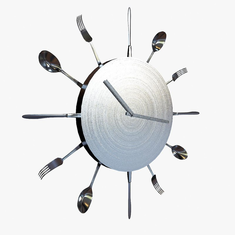 wall clock flatware kitchen 3d obj