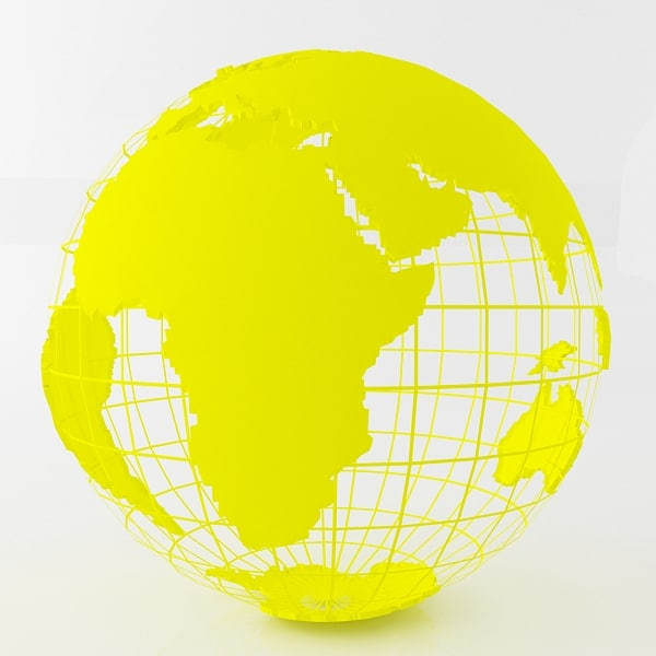 yellow earth globe 3d model