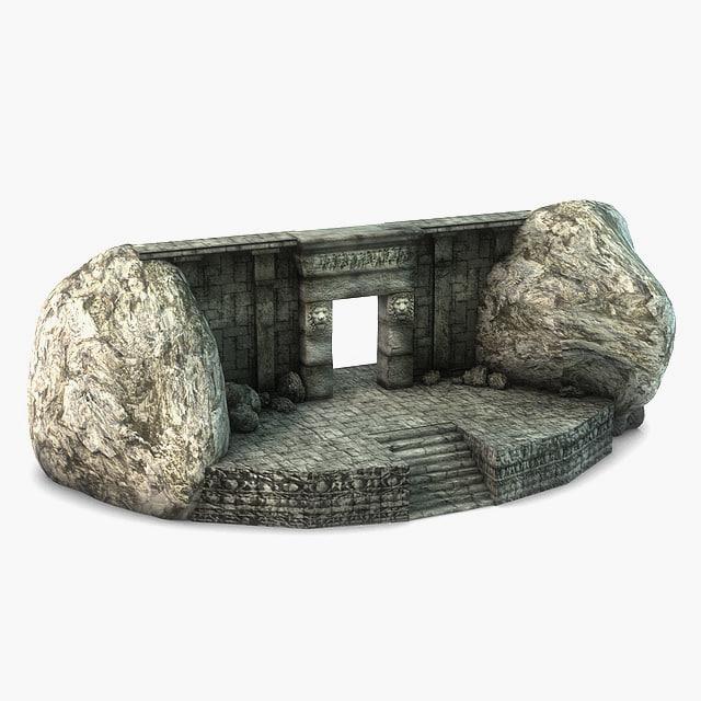 3d model ancient stone entrance