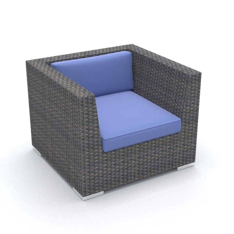 single wicker chair 3dm