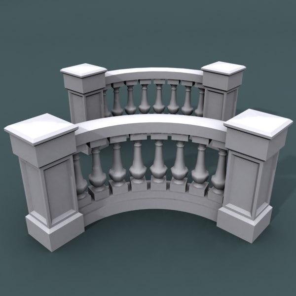 3d model curve balustrade bend