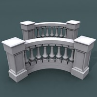 3d model curve balustrade bend
