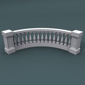 3d max curve balustrade bend