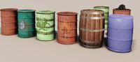 3d barrels steel plastic model