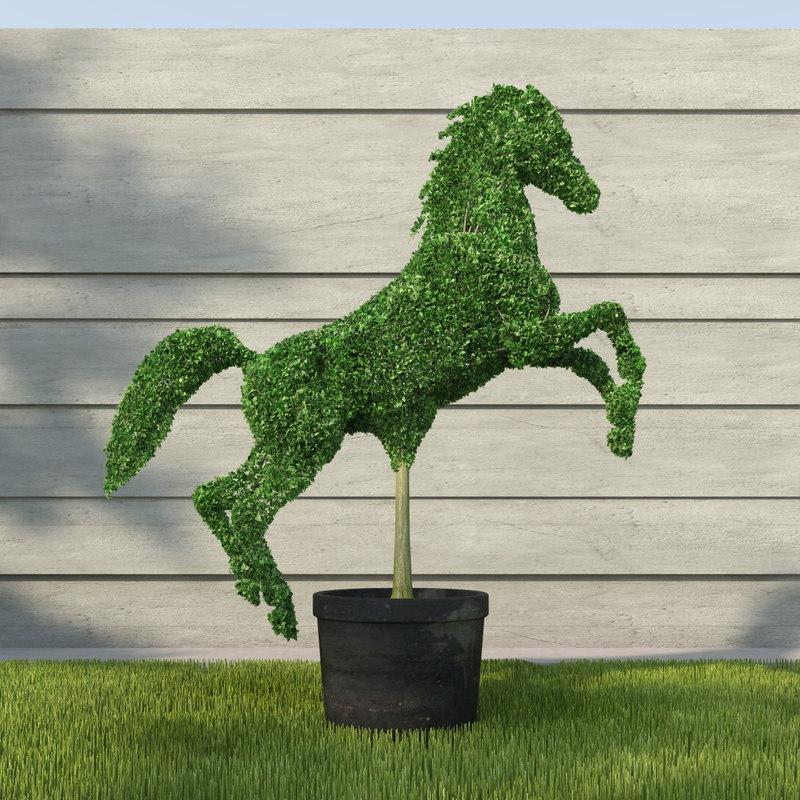horse topiary sculpture 3d model