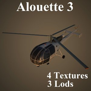 alouette helicopter 3d max