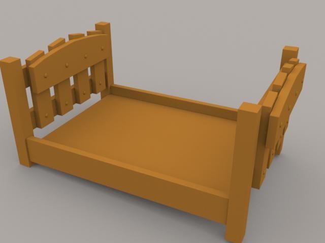 free simple bed frame 3d model