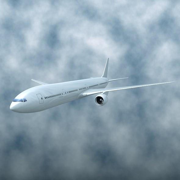 aircraft boeing 777-300er 3d 3ds