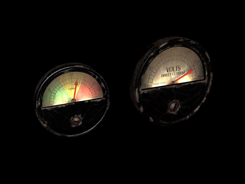 3d c4d retro meters steampunk