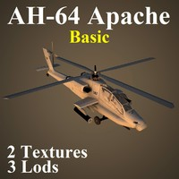 3d ah-64 apache basic attack helicopter model