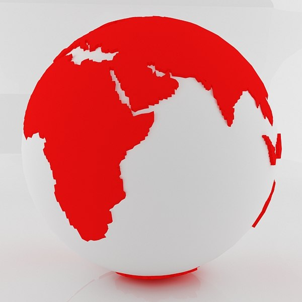 3d red world sphere