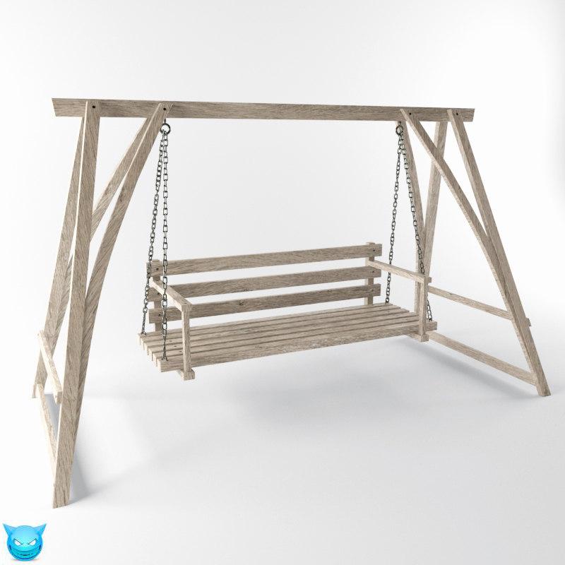 swing yard wooden 3d max