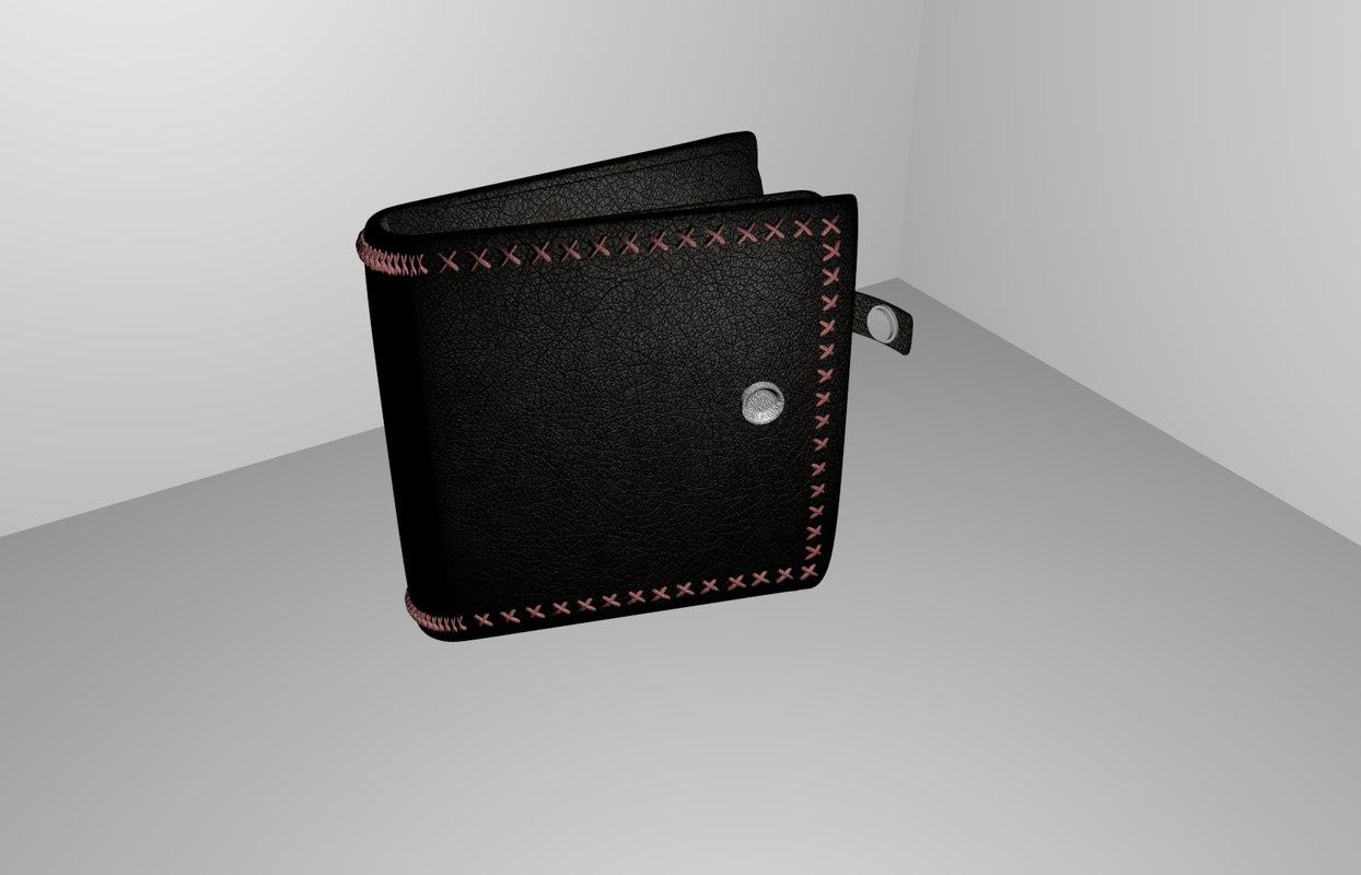 3d model leather wallet