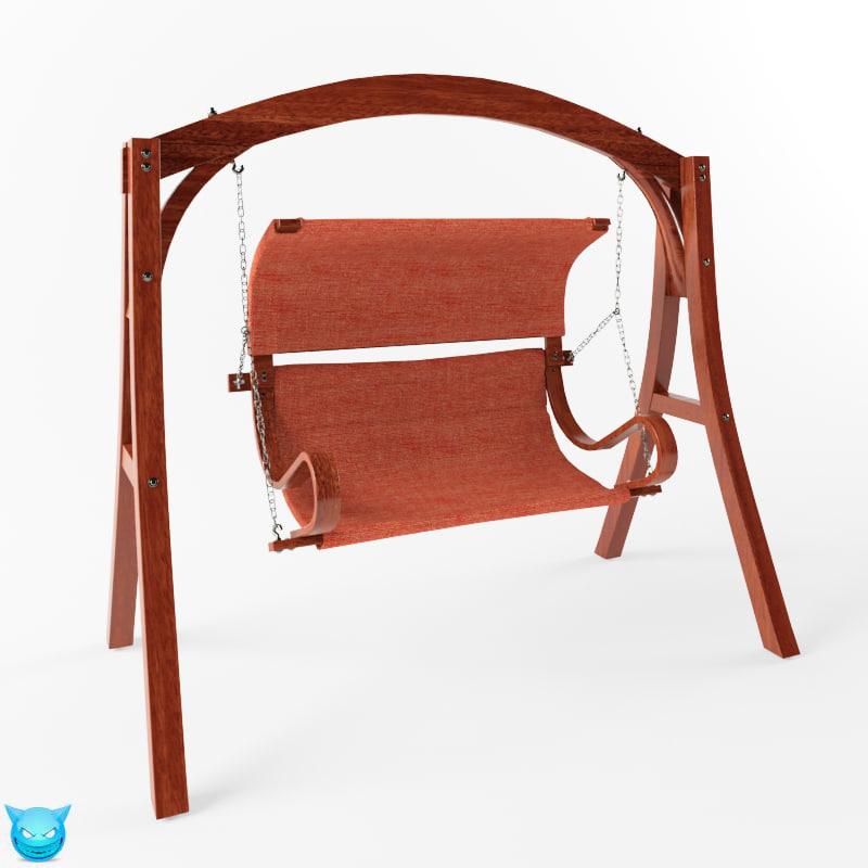 3d model swing yard wooden