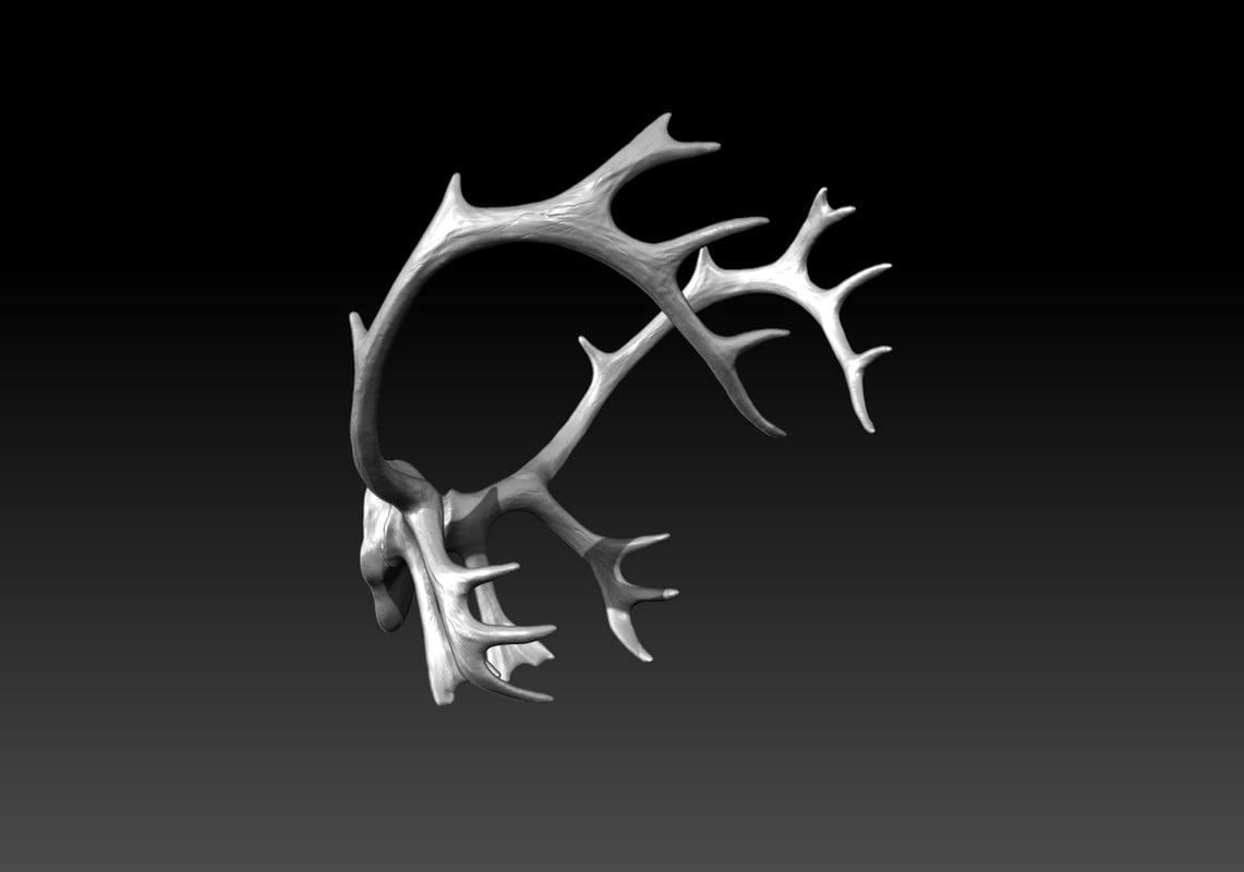 caribou reindeer antlers obj