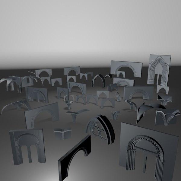 medieval arches 3d 3ds
