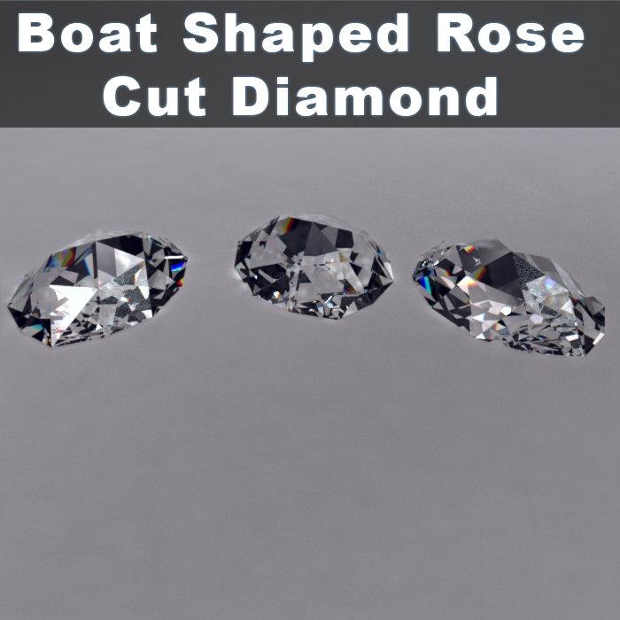 3d boat shaped rose cut diamond