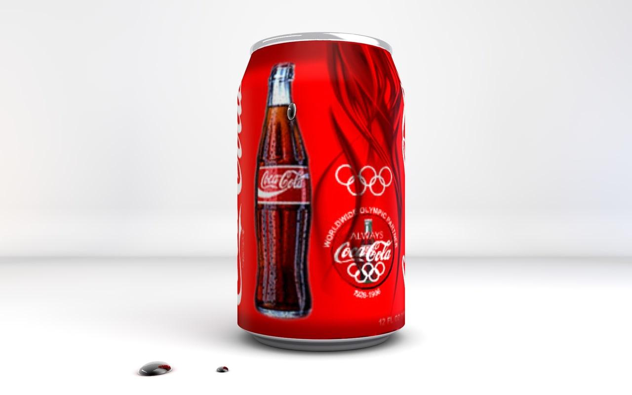 3d cans cocacola model