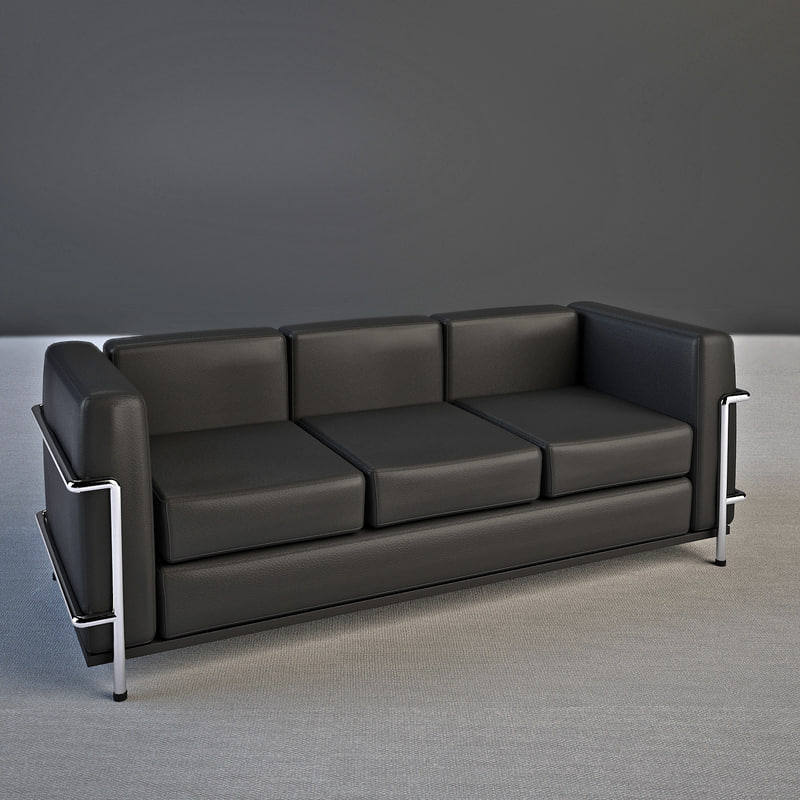 Le corbusier sofa lc2 3d model - Canape lc2 le corbusier ...