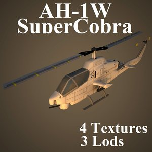 3d model ah-1w attack helicopter
