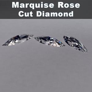 3d model marquise rose cut diamond
