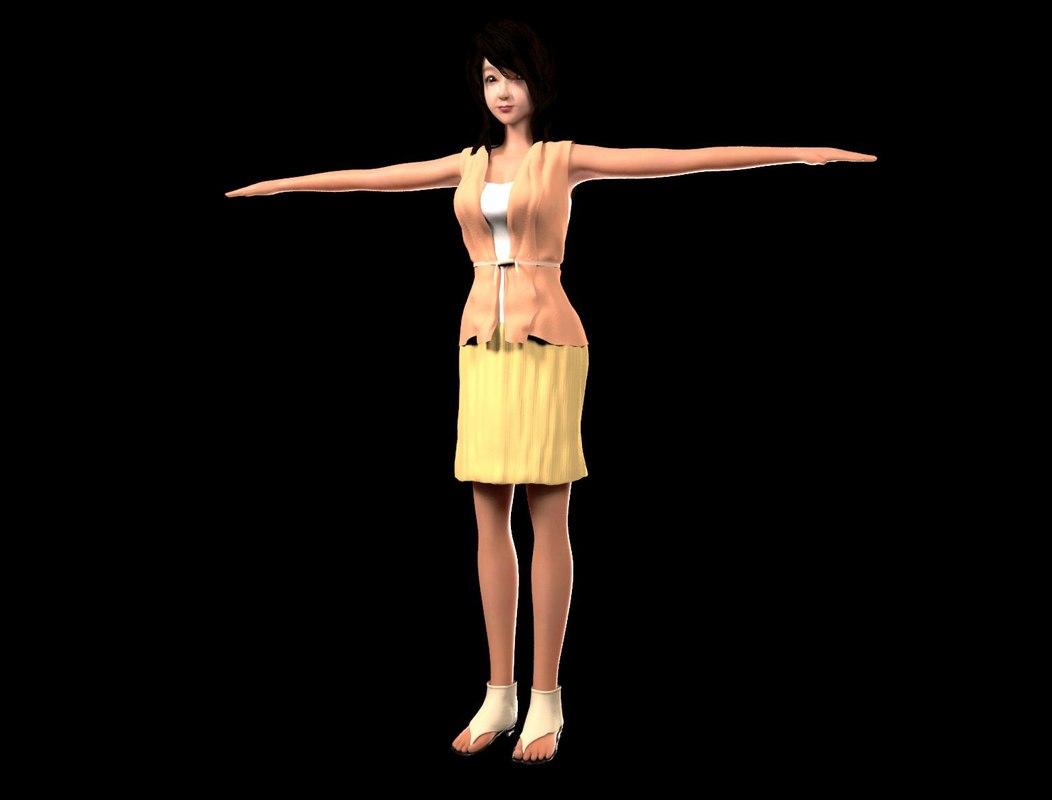 3d female character model