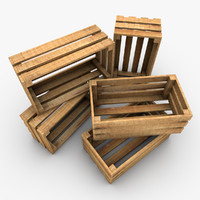 3d wooden crate plank wood model