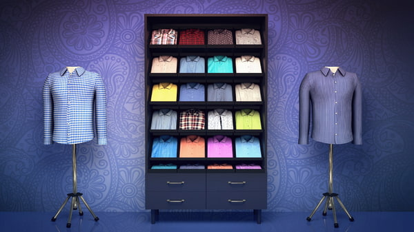 3d model shelves shirts mannequins