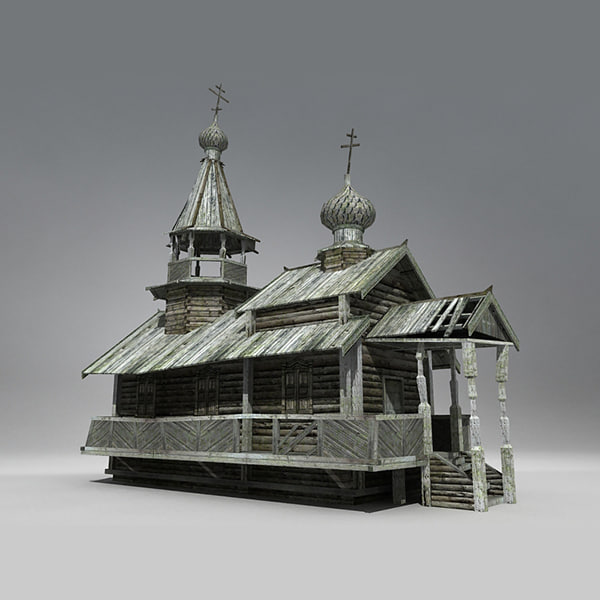 3ds siberian wooden church